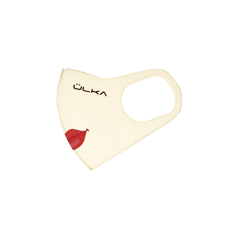 Reusable pitta mask ÜLKA biege with print